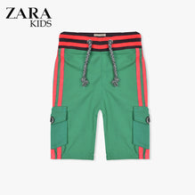 Zara Boys Cargo Short for Kids -Green With Pink Stripes-ZKCS31