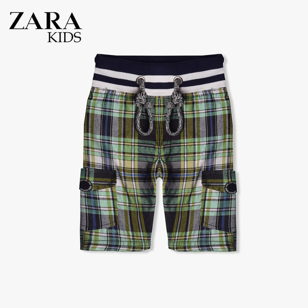 Zara Boys Check Cargo Short for Kids -Green- ZKCS06