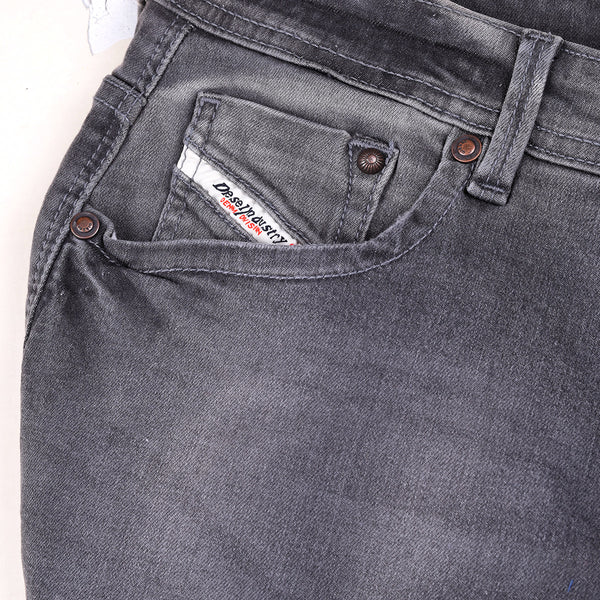 "Men's ""DIESEL"" Slim Fit Stretch Denim With Charcoal Faded Wash-D100"