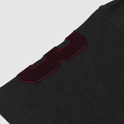 US Polo Muscle Fit Stylish Fashion Shirt For Men-Charcoal With Burgundy Embroidery-NA10995