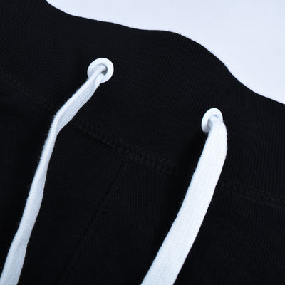 NK Terry Fleece Black & White Embroidery Short For Men-Black-SP1036