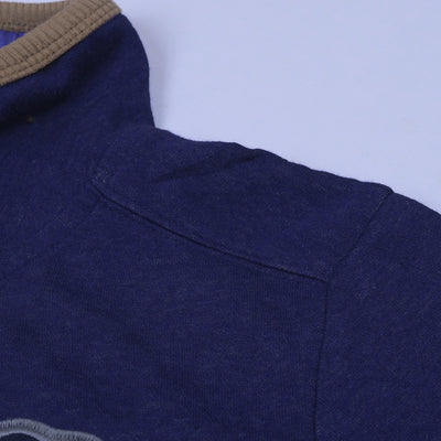 A&F Fleece Full Zipper Mock Neck Jacket For Men-Purple Melange-NA7774
