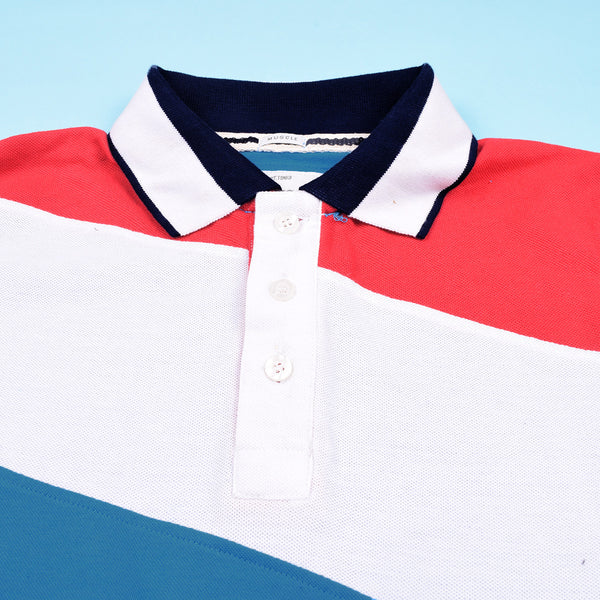 Mens Louis Vicaci Milano Muscel Fit Blue-White & Red Rugby Polo Shirts -RP26