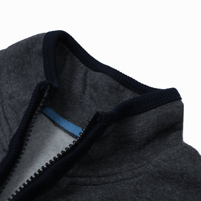 A&F Fleece Full Zipper Mock Neck Jacket For Men-Charcoal Melange-NA7782