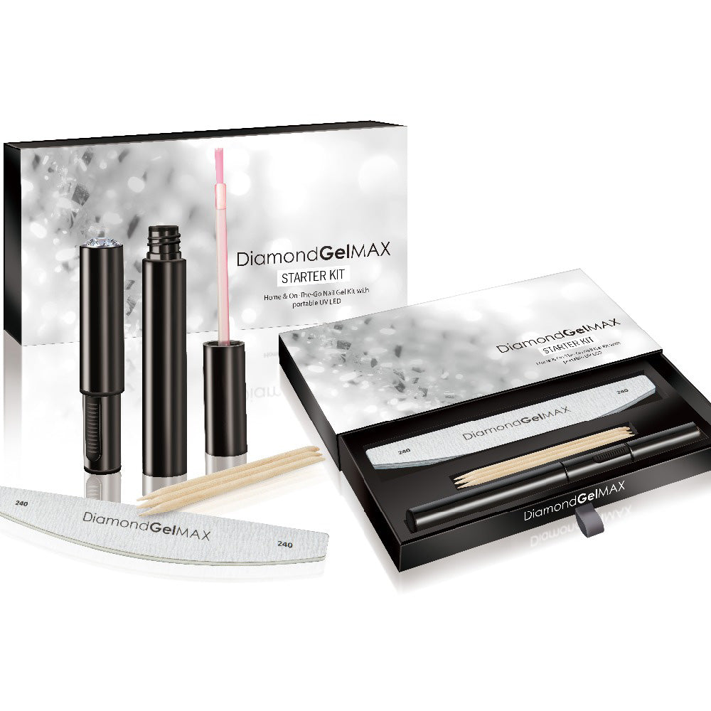 DiamondGelMAX Starter Nail Gel Kit With Unique Portable LED UV Lamp-NA9653