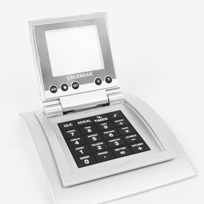 Digital Battery Operated Calculator With World-Calendar Clock-NA7358