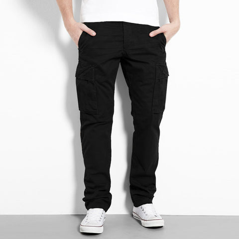 "Men's ""Angel Devil"" Jet Black Slim Fit Strech Cargo Cotton Denim -ND22"