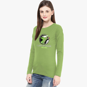 Dolmen Full Sleeve Crew Neck T Shirt For Ladies-Light Parrot-NA1418