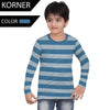 Kids Kroner Striped Long Sleeve T Shirt-Blue-KKTS06