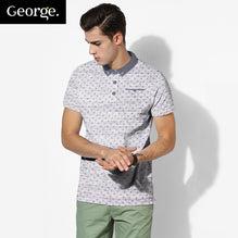 George Polo For Men Cut Label-White with Allover rinting-BE2471