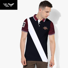 Cedar Wood State Polo Shirt For Men-Dark Navy & White Panel-BE2476