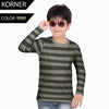 Kids Kroner Striped Long Sleeve T Shirt-Dark Green-KKTS05