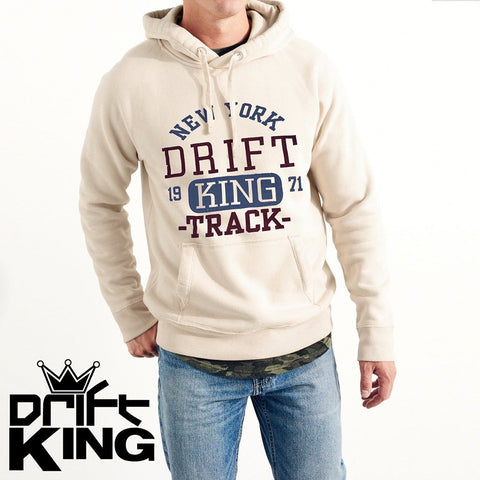 Drift King Fleece Pull Over Printed Hoodie For Men-Light Wheat-NA904