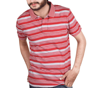 Drift King Polo Shirt For Men-White Red Stripe-BA00074