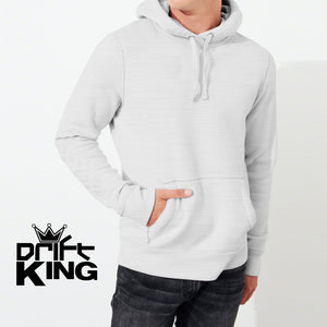 Drift King Terry Fleece Pull Over Hoodie For Men-Light Gray-NA442