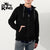 Drift King Terry Fleece Zipper Hoodie For Men-Jet Black-NA449
