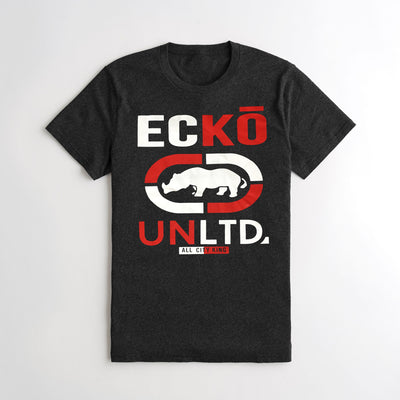 brandsego - ECKO Crew Neck Single Jersey Half Sleeve Tee Shirt For Men-Charcoal-NA8446