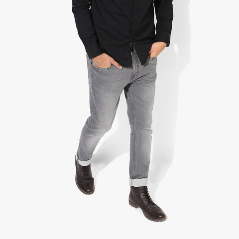 "Men's ""Mango"" Slim Fit Strech Denim Dark Gray Faded -ND52"