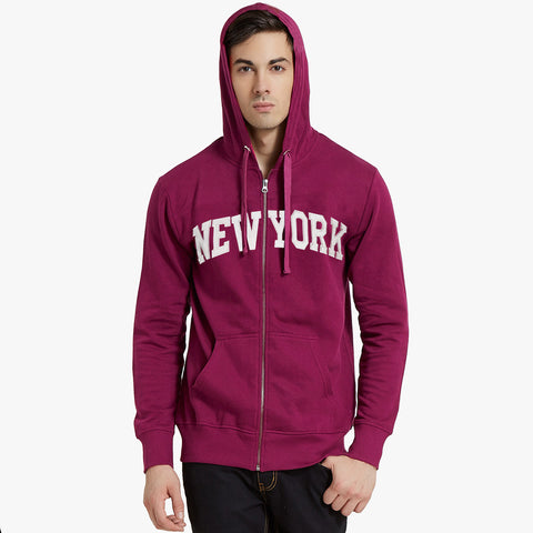 "Men's ""New York"" Aplic Zipper Hoodie-Pink-SKH20"