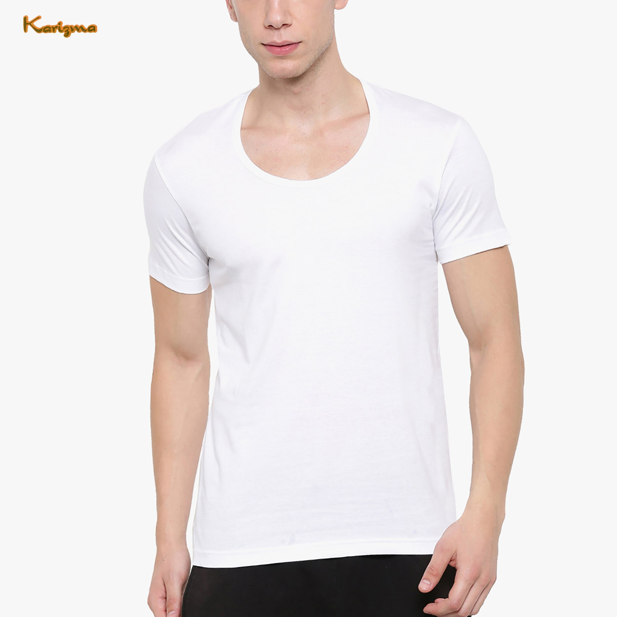 Karizma Inner-Wear Short Sleeve Vest For Men-BE4331