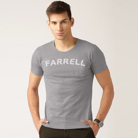 M&S Crew Neck T Shirt For Men -Gray Melange- BE1095