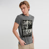 F&F Crew Neck Burnout Wash Single Jersey Tee Shirt For Men-Charcoal Faded-NA8624