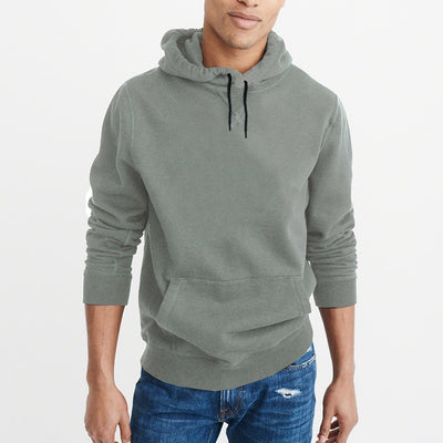 F&F Pullover Terry Fleece Hoodie For Men-Light Olive Green-BE3802