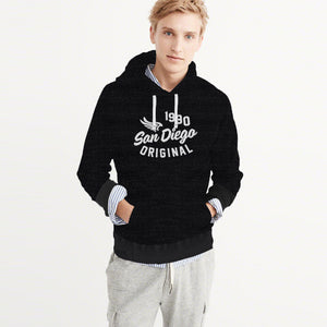 F&F Pullover Terry Fleece Hoodie For Men-Black with Melange-BE3800