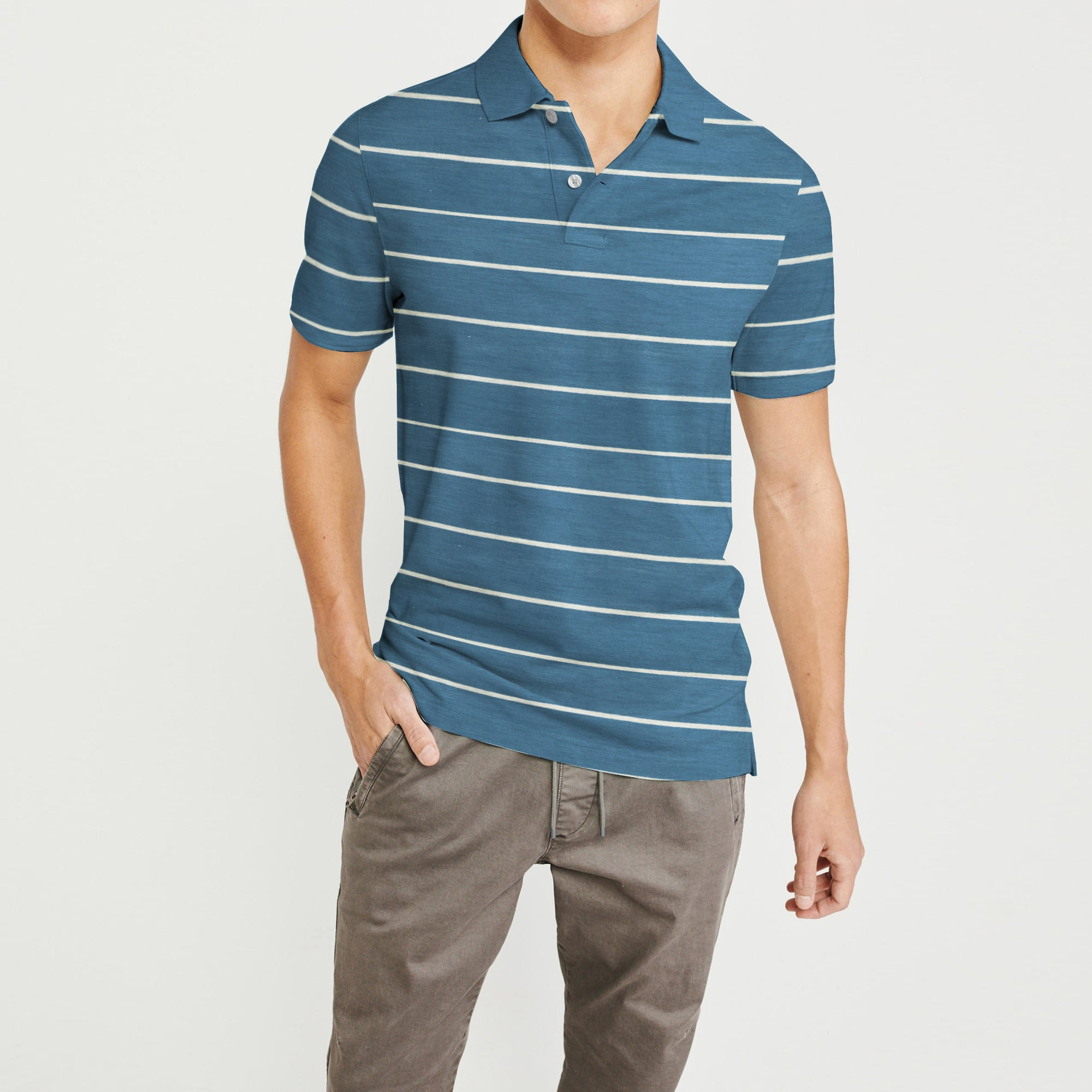 brandsego - Falls Creek Short Sleeve Single Jersey Polo Shirt For Men-Blue & Grey Striper-NA8436