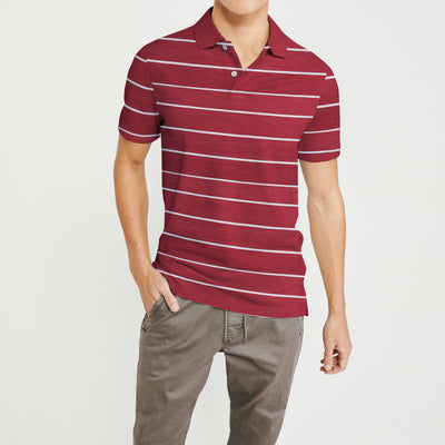 brandsego - Falls Creek Short Sleeve Single Jersey Polo Shirt For Men-Red & Grey Striper-NA8332