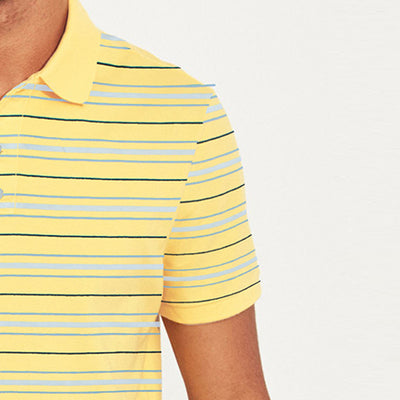 brandsego - Falls Creek Short Sleeve Single Jersey Polo Shirt For Men-Yellow & Multi Striper-NA8331