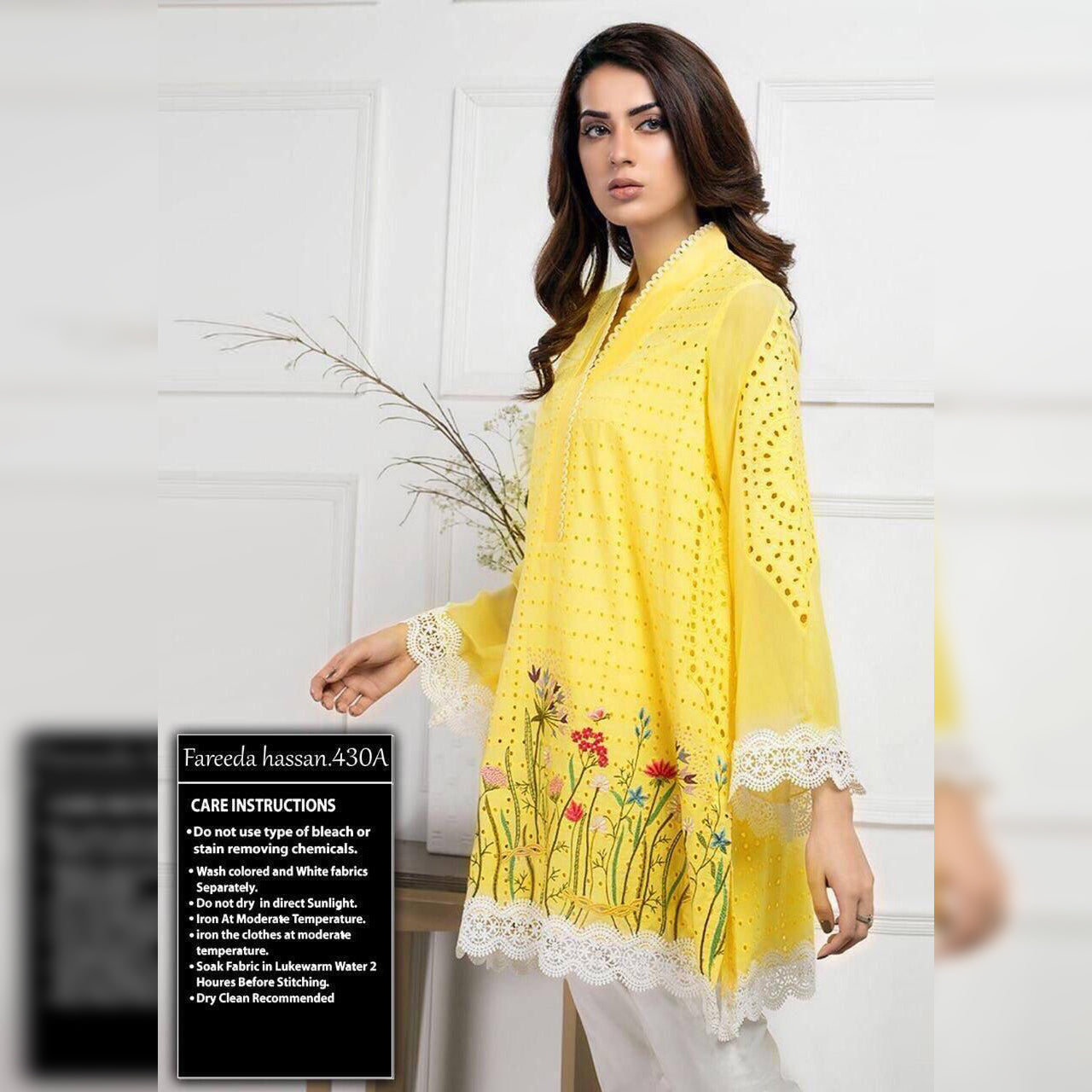 Fareeda Hassan Lawn Collection 3 Piece Un-stitch Suit For Ladies-NA9059