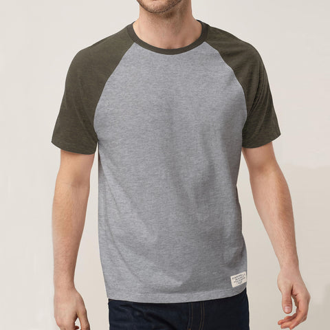 Farrell Crew Neck Raglan Sleeve T Shirt For Men Cut Label-Grey & Olive Melange-BE4476