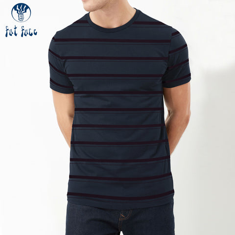 Fat Face Crew Neck T Shirt For Men-Navy with Striped-BE4475
