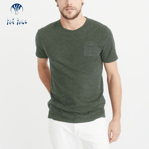 Fat Face Crew Neck T Shirt Pocket Style For Men-Olive Green Melange-BE4324