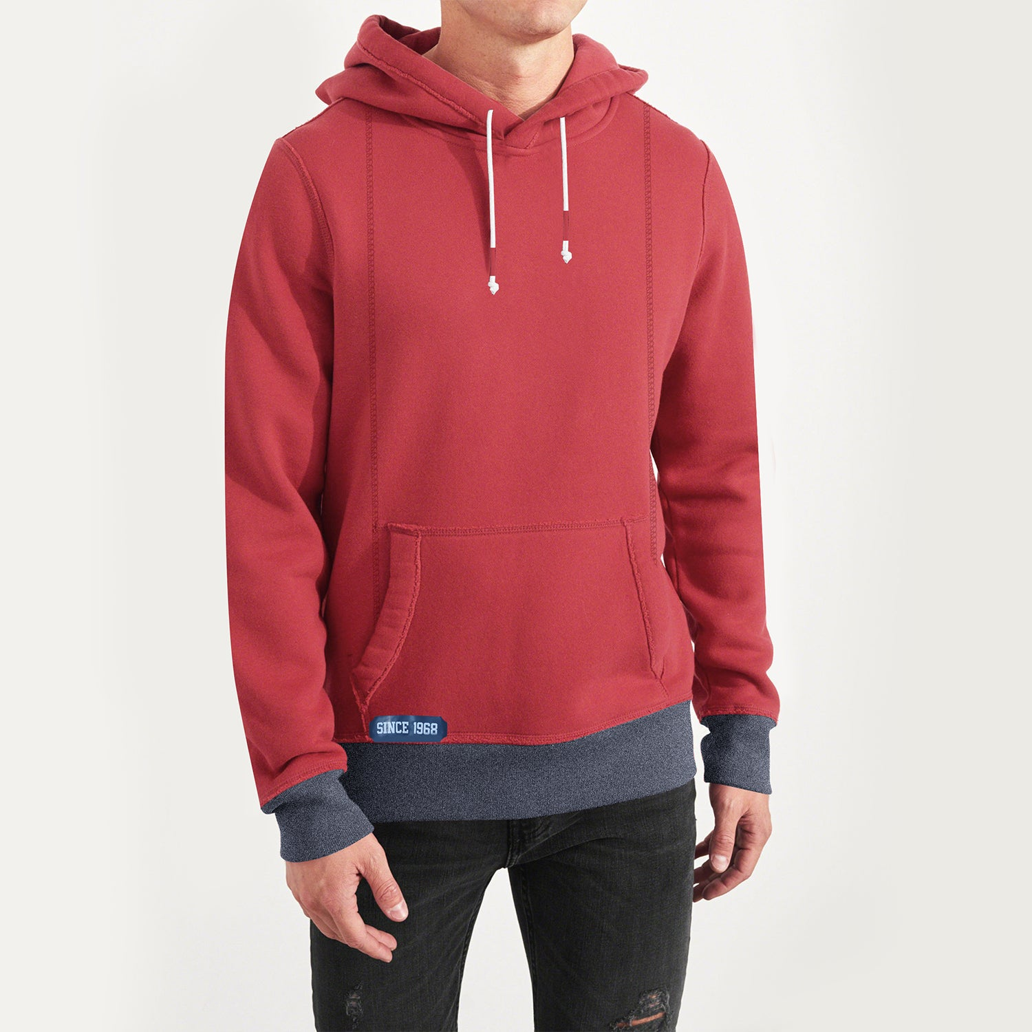 cbcef76104a5 Fat Face Fleece Pullover Hoodie For Men-Coral Pink-NA7113 - BrandsEgo