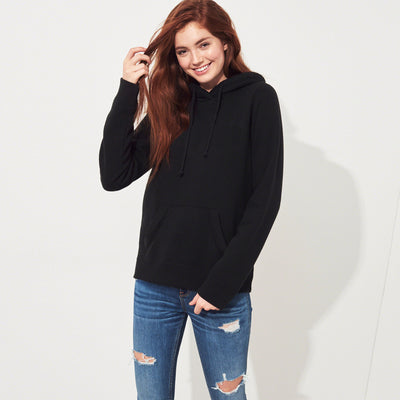 Fat Face Fleece Pullover Hoodie For Women-Black-NA6826