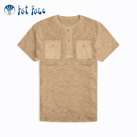 Fat Face Henley T Shirt For Men-Golden Melange-NA939
