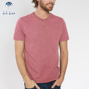Fat Face Henley T Shirt For Men-Light Red Melange-BE4335