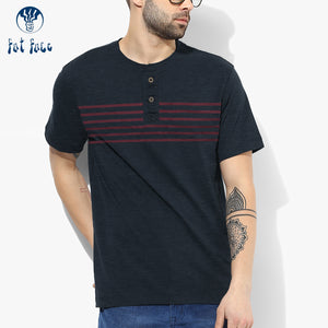Fat Face Henley T Shirt For Men-Navy & Red Stripe-BE4470