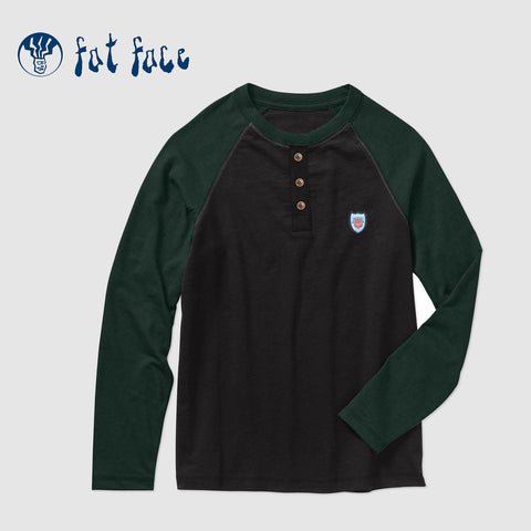 Fat Face Single Jersey Henley Raglan Sleeve Tee Shirt For Men-Black & Dark Green-NA5372