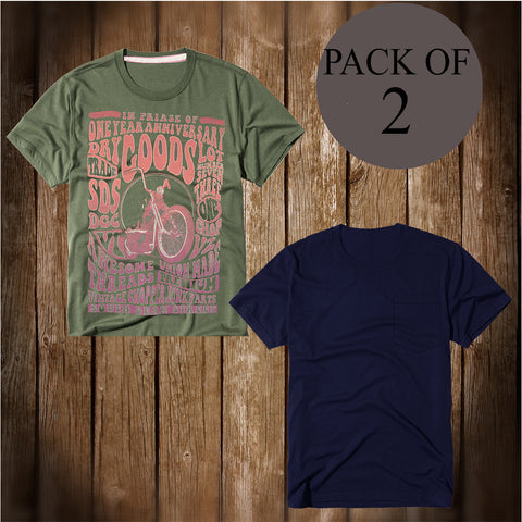 Pack Of 2 T Shirt For Men-AT38