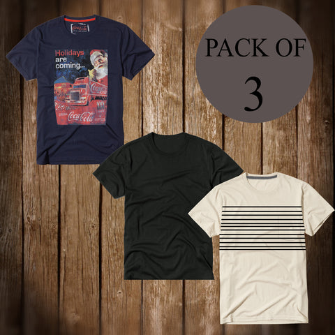 Pack Of 3 T Shirt For Men-AT34