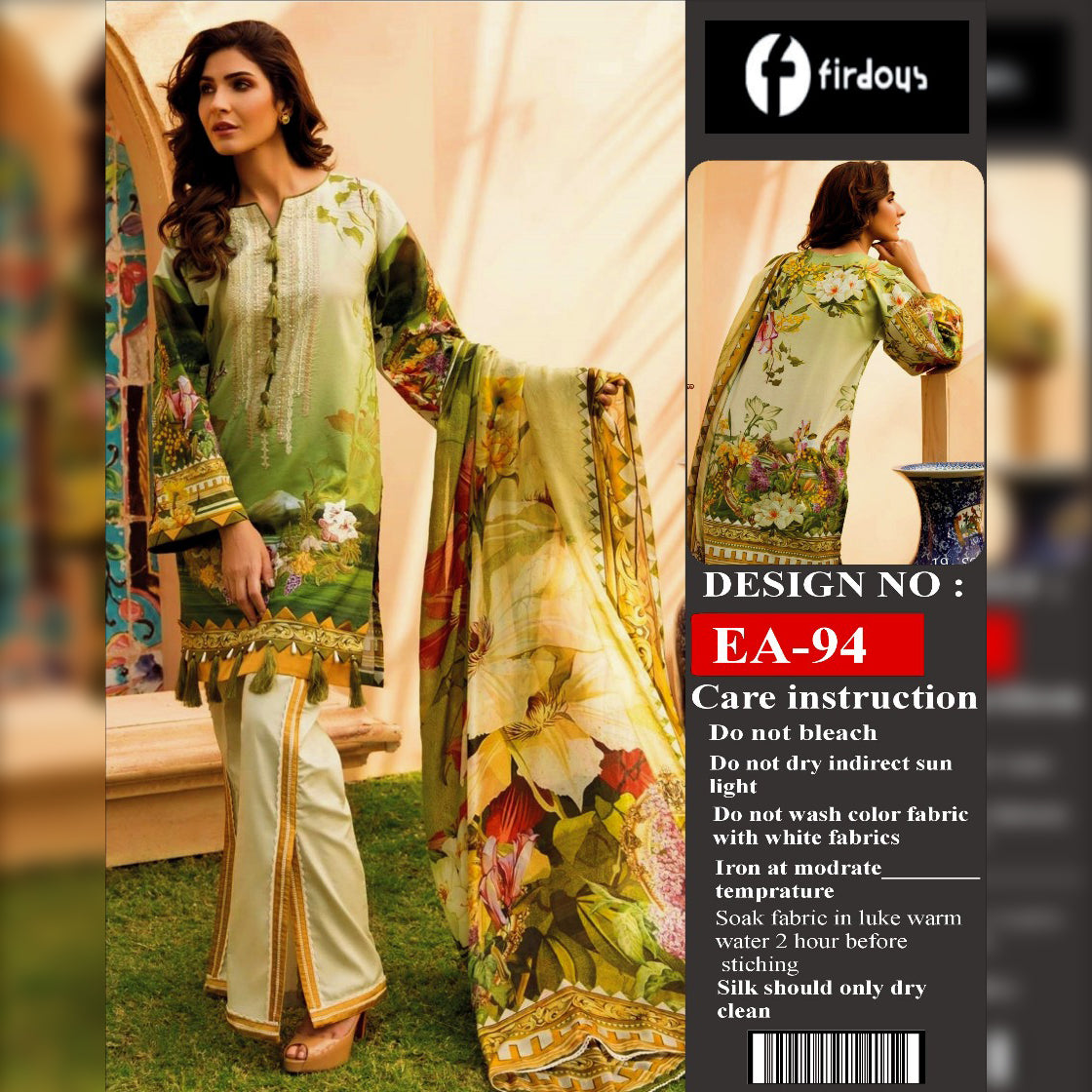 Firdous Lawn Collection 3 Piece Un-stitch Suit For Ladies-NA8839