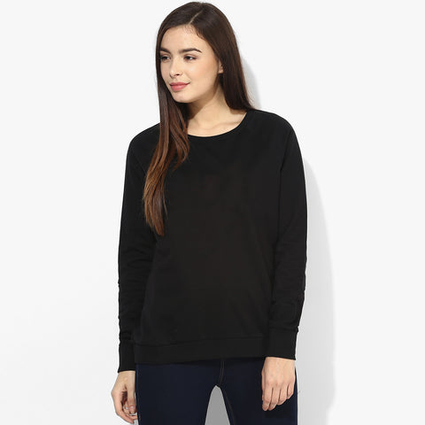 Ladie's Fat Face Cut Label Sweatshirt-Black-BE583