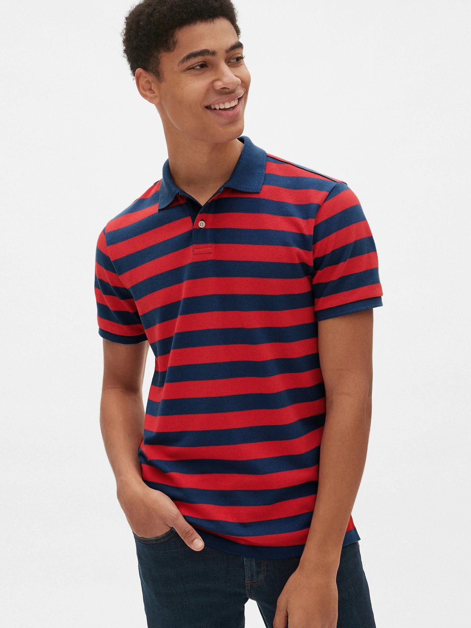 GAP Short Sleeve P.Q Polo Shirt For Men-Blue & Red Striper-NA8370