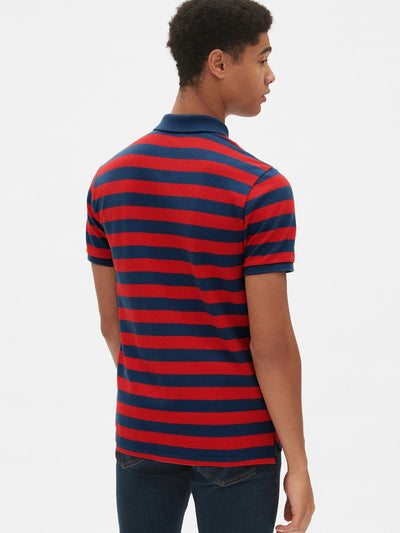 brandsego - GAP Short Sleeve P.Q Polo Shirt For Men-Blue & Red Striper-NA8370