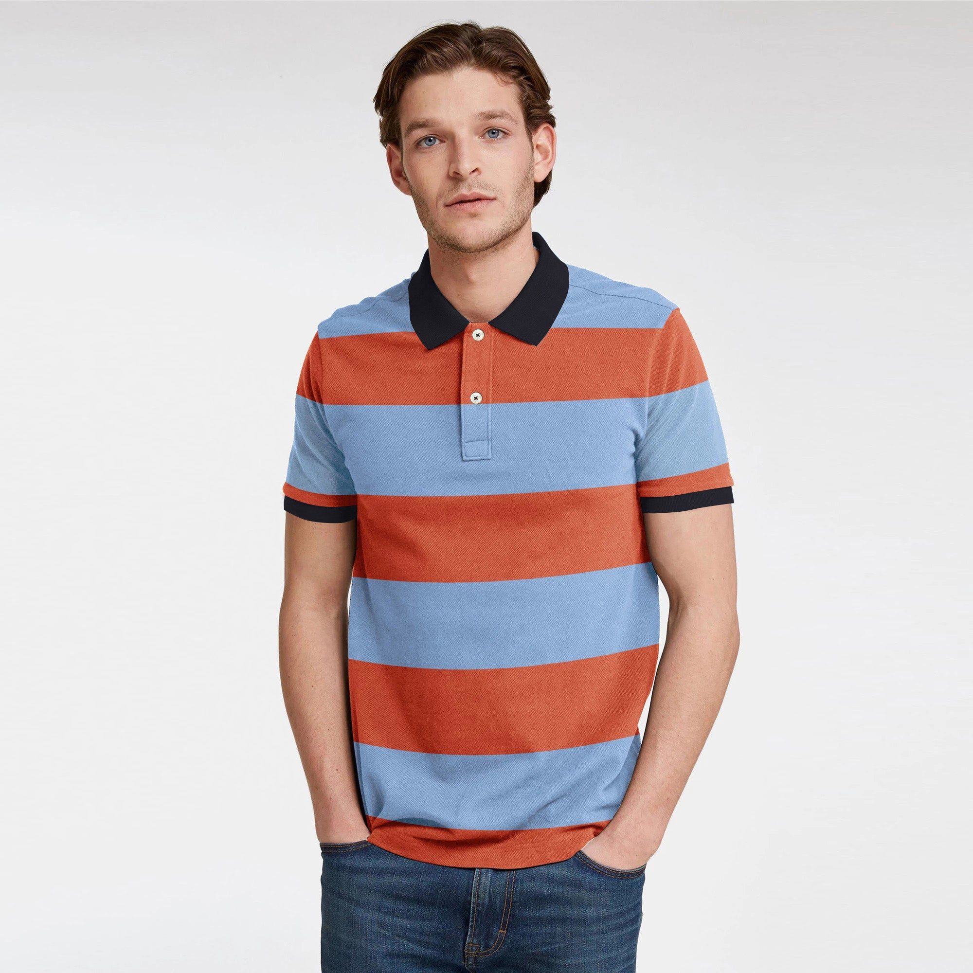brandsego - GAP Short Sleeve P.Q Polo Shirt For Men-Sky & Orange Stripe-NA9489