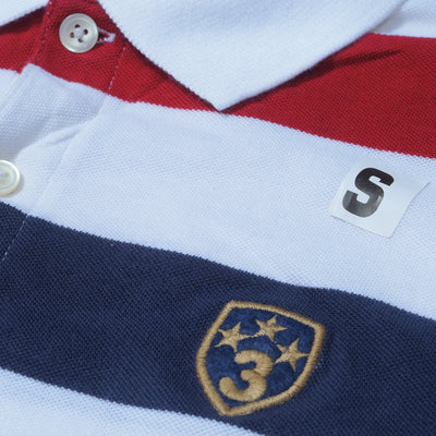 brandsego - GAP Short Sleeve P.Q Polo Shirt For Men-White-Blue-Red Striped-NA7976