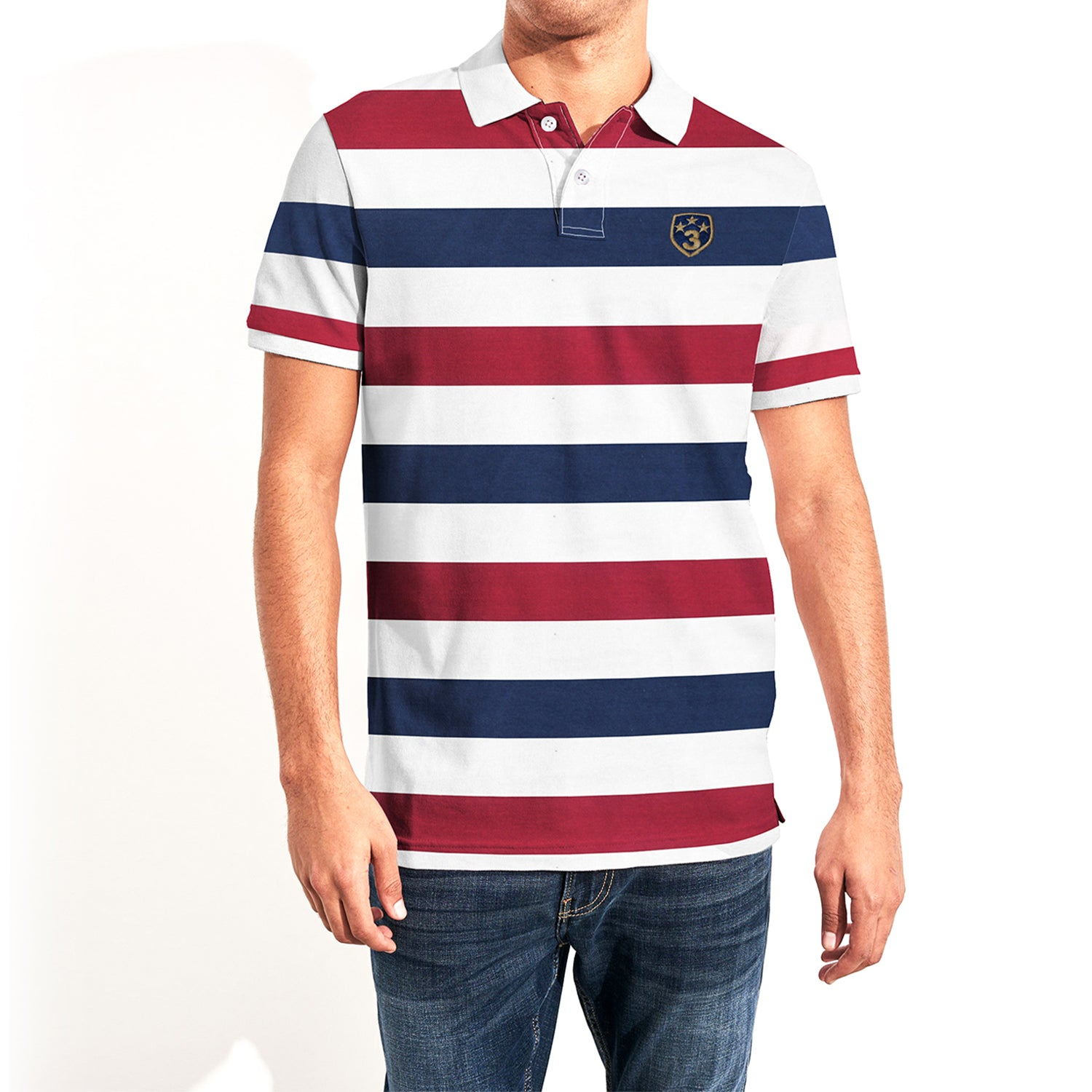 GAP Short Sleeve P.Q Polo Shirt For Men-White-Blue-Red Striped-NA7976